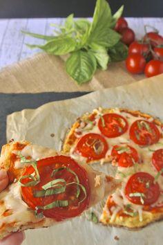 Cauliflower crust tomato basil pizza