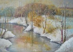 Buy EARLY WINTER, 70x50cm, snow forest trees river landscape, Oil painting by Emilia Milcheva on Artfinder. Discover thousands of other original paintings, prints, sculptures and photography from independent artists.