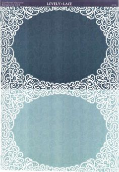 Kanban Crafts - Lovely in Lace - printed background card - Cornflower Macrame