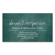 Aqua Chalkboard Teacher Tutor Double-Sided Standard Business Cards (Pack Of 100). Make your own business card with this great design. All you need is to add your info to this template. Click the image to try it out!