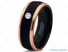 Black Tungsten Ring, 18k Rose Gold Black Band, Black Wedding Bands, White Diamond Mens Wedding Band, Black Men Wedding Band,Tungsten Carbide