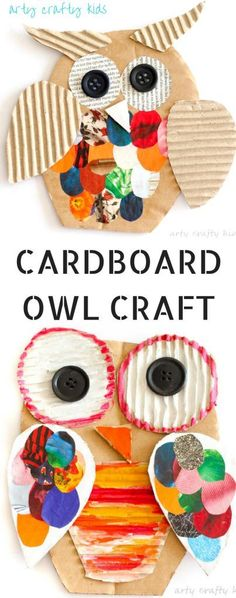 Arty Crafty Kids | Craft | Recycled Cardboard Owl Craft for Kids | A fun way to resuse cardboard and maagzines to create playful owls. A perfect kids craft for Autumn #kidscraft #easycraftsforkids #Preschoolcrafts