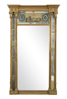 A Federal mirror with eglomise panel and double blown glass inset. Most likely Boston in origin. Circa 48 H x 26 W Art Watch, Neoclassical, Blown Glass, Mirrors, Folk Art, Oversized Mirror, Boston, Interior Design, Lighting