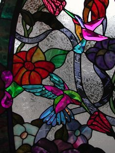stained glass arch transom | Stained Glass hummingbirds
