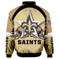 New Orleans Saints Bomber Jacket Graphic Player Running Nfl Gear, Football Gear, Cincinnati Bengals, Pittsburgh Steelers, Dallas Cowboys, New Saints, New Orleans Saints, All Nfl Teams, Jacksonville Jaguars
