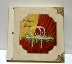 Wedding headpiece, wedding wreath, wedding album, red curtain, white tiaras, leather album, chic album, romantic headpiece, greek orthodox by Hirotechnion on Etsy Wedding Photo Albums, Wedding Album, Wedding Wreaths, Red Curtains, Painted Books, Headpiece Wedding, Black Paper, Handmade Wedding, Greek