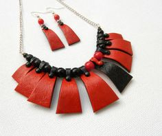 #Red #black #Handmade necklace earrings Faux by insoujewelry