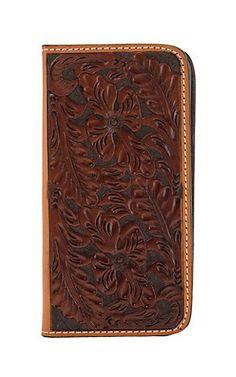 Tony Lama Chocolate/Cognac Western Floral Iphone 6 Plus Wallet/Phone Case | Cavender's