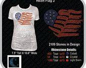 usa flag heart rhinestone design