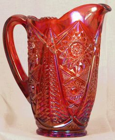 Vintage Red Carnival Glass Pitcher by GlassGirlme on Etsy, $56.00