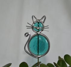 Stained Glass Teal Blue Cat Plant Stake, Garden Art