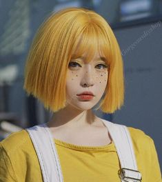 Aesthetic People, Aesthetic Hair, Short Straight Hair, Straight Hairstyles, Pelo Guay, Style Lolita, Pose Reference Photo, Yellow Hair, Mint Green Hair