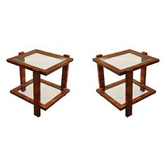 Pair of Contemporary Two-Tiered Light Walnut End Tables with Glass Top and Shelf