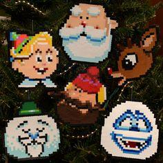 Pixel Art Rankin Bass Rudolph Characters perler beads by adamcrockett Christmas Perler Beads, Beaded Christmas Ornaments, Diy Ornaments, Glass Ornaments, Diy Perler Beads, Perler Bead Art, Pearler Bead Patterns, Perler Patterns, Rudolph Characters