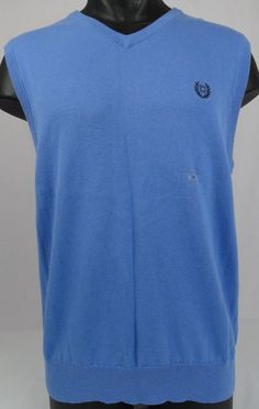 NWT Chaps Mens Medium Light Blue V-Neck Sweater Vest Golf Light ...
