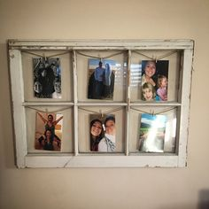 Old wooden window repurposed into a picture frame
