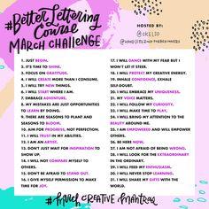 Lettering Challenge — Hand-Lettering For Beginners Hand Lettering Alphabet, Doodle Lettering, Creative Lettering, Brush Lettering, Journal Challenge, Writing Challenge, Monthly Challenge, Hand Lettering For Beginners, Hand Lettering Tutorial