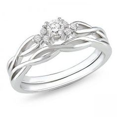 0.35 Carat Affordable diamond infinity wedding ring set in 10k white gold $449.99 (57% OFF)