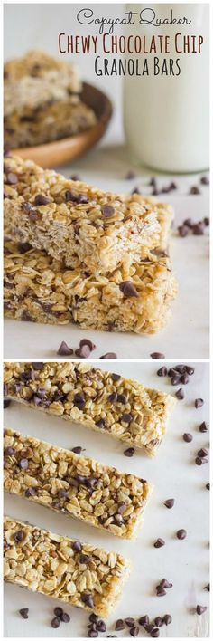 Chewy chocolate chip granola bars - Just like the store bought version kids love, but made with honey and coconut oil! Chocolate Chip Granola Bars, Homemade Granola Bars, Chocolate Chips, Chewy Granola Bars, Chocolate Squares, Healthy Chocolate, Chocolate Recipes, White Chocolate, Lunch Snacks
