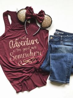 I Want Adventure In the Great Wide Somewhere Tank Top, Rose Gold-Queen of Hearts Co Disney Inspired Outfits, Disney Outfits, Disney Style, Cute Outfits, Disney Clothes, Disney Fashion, Fashion Fashion, Fashion Ideas, Disney Tank Tops