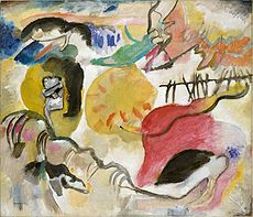 Wassily Kandinsky, Improvisation 27 (Garden of Love II), 1912, oil on canvas, 47 3/8 x 55 1/4 in. (120.3 x 140.3 cm), The Metropolitan Museum of Art, New York. Exhibited at the 1913 Armory Show.