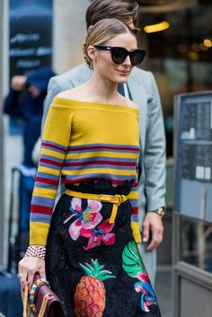 """30 Looks That Show The Many Sides Of """"French Girl"""" Style #refinery29  http://www.refinery29.com/2016/10/125501/pfw-spring-2017-best-street-style-outfits#slide-29  Leave it to Olivia Palermo to serve up a serious lesson in print-mixing...."""