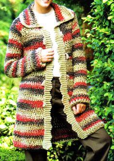 Crochet Coat, Crochet Clothes, Sweater Coats, Sweaters, Plaid Scarf, Crochet Patterns, Crochet Tutorials, Clothes For Women, Knitting