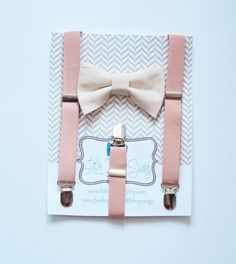 Blush Suspenders with nude #bowtie, a perfect look for ring bearer, groom and #wedding party!  Blush Suspenders Nude Bow Tie for Boys, Wedding Bow TIe, Ring Bearer Suspenders, Blush Nude Wedding, Baby  Boy Suit, Boys Clothes, Boy Gift by LittleBoySwag on Etsy
