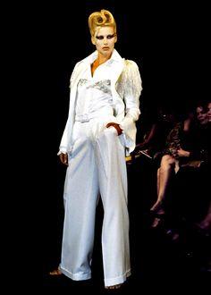 Lloyd Klein wide-leg pants with embroidered shoulder jacket for Spring Summer