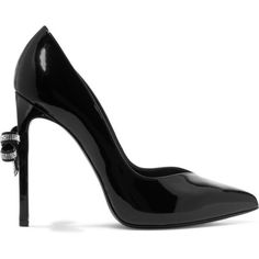 ineverwantedtofeel:  Saint Laurent Bow-embellished patent-leather pumps  liked on Polyvore (see more 80s shoes)