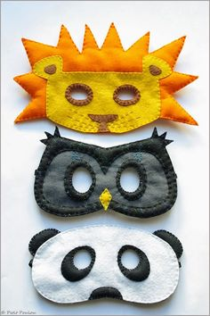 DIY : Felt Masks Owl, panda and lion