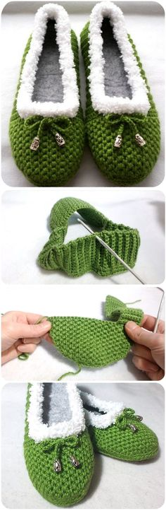Knitting Patterns Booties How To Crochet Cozy House Slippers Crochet Cozy, Crochet Boots, Crochet Slippers, Crochet Crafts, Crochet Clothes, Free Crochet, Crochet House, Felted Slippers, Sewing Clothes