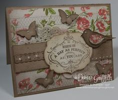 Tea for Two designer paper # 129311   Tea Lace paper Doilies # 129399  Bitty Butterfly punch # 129406  Bird  Builder punch #117191   Dotted Scallop Ribbon Border punch # 119275  Crumb Cake card stock #120953  Basic Pearls #119247  Color Spritzer tool # 107066    w/ Early Espresso marker #119680     Labels Collection Framelits # 125598