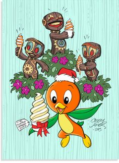 I love you, Orange Bird! Especially with your Santa Hat on!