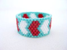Peyote Ring Hearts Turquoise Red White Band Beadwork Beaded Delica Seed Bead size 10