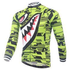 Men's Neon Shark Long Sleeve Cycling Jersey  #Cycling #CyclingGear #CyclingJersey