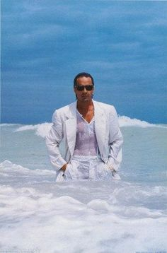 Don Johnson Miami Vice White Suit In Ocean 1986 Rare Poster