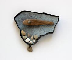 High Tide, brooch, 2015, silver, patina, paint, glass, drift wood, stone, fossil