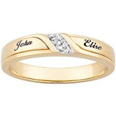 Personalized 18kt Gold Over Sterling Silver Diamond Engraved Name Slim Wedding Band Women S Size 6