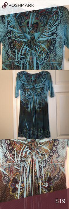 Gorgeous tunic/dress EUC.  Only worn a few times.  Aqua/black.  96% polyester, 4% spandex. Apt. 9 Dresses Mini