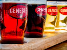 The beer flights at Genesee Brew House give you four glasses of your choice of 10-plus brews on tap. These are the Scotch, Black IPA, 12 Horse Ale and Genesee Light. Review: http://on.rocne.ws/1eJ9n33  KATE MELTON for the Democrat and Chronicle