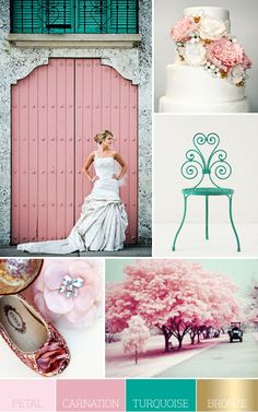 Aqua Shutters, Pink Door, Vintage Turquoise Chair... PERFECT!    What type of tree is that gorgeous pink tree - please tell.