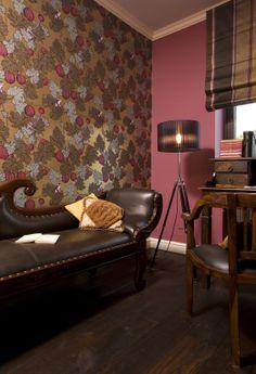 fuchsia study room of colonial furniture with monkeys' wallpaper, cole and son wallpaper, cole and son Fornasetti frutto proibito wallpaper