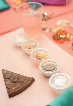 Super cute party activity idea: Chocolate PIZZA with candy toppings!