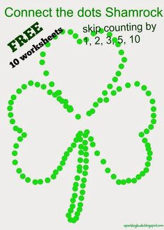 Connect the dots Shamrock free worksheets! There are 10 worksheets - skip counting by 1, 2. 3, 5 and 10.
