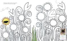 Flowers Doodle Sheet...draw a face on the flowers. Plus other fun doodle and color sheets and printable bookmarks.