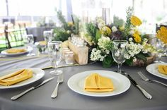 yellow and grey wedding table
