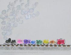 Thumbprint/Fingerprint Freight Train - what a great craft activity!