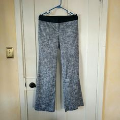 SALE Ann Taylor flair pants Beautiful pants from Ann Taylor. Very light material. Waistband is dark blue and pants itself white with blue. 32.5 inch inseam. New, never been worn! Flare wide leg opening. Size 2 but fits more like 4 as Ann Taylors sizes a little bigger. It's also stretchy. Ann Taylor Pants Wide Leg