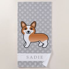 Red Cartoon Welsh Corgi Pembroke Dog With A Name Beach Towel - red gifts color style cyo diy personalize unique